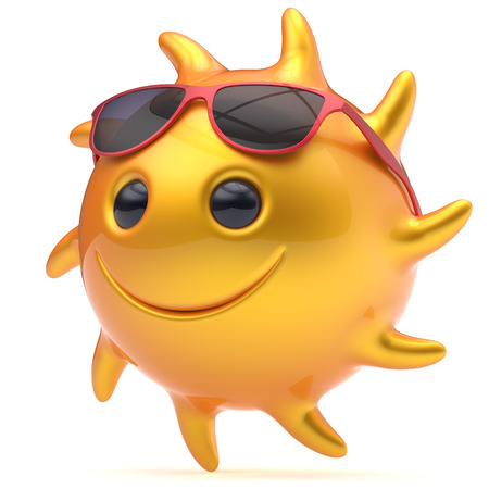 sunglasses recreation: Smiley sun face sunglasses cheerful summer star smile cartoon ball emoticon happy fiery yellow sunny heat icon. Smiling laughing character vacation holiday chilling sunbathing tropic avatar. 3D render