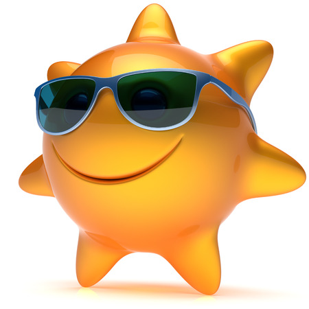 chilling: Smiley sun star face sunglasses cheerful summer smile cartoon ball emoticon happy sunny heat orange yellow person icon. Smiling laughing character holiday chilling sunbathing sunbeam avatar. 3D render