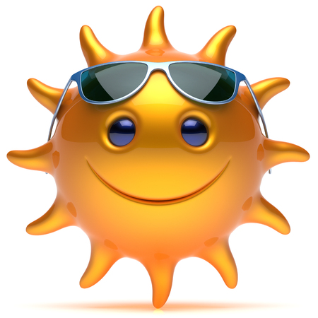 sunbathing: Smile sun cheerful star face sunglasses summer smiley cartoon ball emoticon happy sunny heat yellow orange person icon. Smiling laughing character chilling sunbathing tropics fiery avatar. 3D render Stock Photo