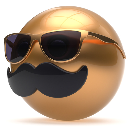 joke glasses: Cartoon face emoticon ball mustache happy joyful handsome person black golden sunglasses caricature. Cheerful eyeglasses laughing fun sphere positive smiley character avatar. 3d render isolated