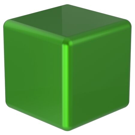 basic figure: Box cube green simple minimalistic geometric shape block basic solid dice square brick figure glossy element single shiny blank object. 3d render isolated Stock Photo