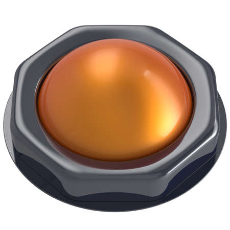 activate: Led push button orange turn on off start action activate ignition power switch design element metallic yellow shiny blank. 3d render isolated Stock Photo