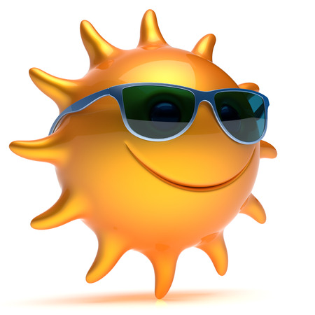 Smile sunglasses sun yellow orange cheerful star face summer smiley cartoon ball emoticon happy sunny heat person icon. Smiling laughing character chilling sunbathing tropics fiery avatar. 3D render