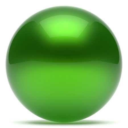 basic figure: Ball green sphere geometric shape round button basic circle solid figure simple minimalistic element single shiny glossy sparkling object blank balloon icon. 3d render isolated