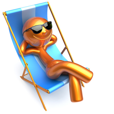 sunglasses recreation: Man smiley relaxing sunglasses summer cartoon character chilling beach deck chair comfort stylized golden person sun lounger chaise lounge tourist sunbathing rest harmony vacation. 3d render isolated