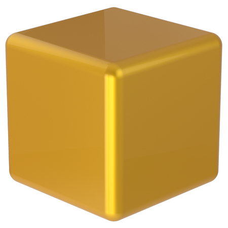 basic figure: Cube box yellow golden simple minimalistic geometric shape square brick figure block basic solid dice glossy element single shiny blank object. 3d render isolated