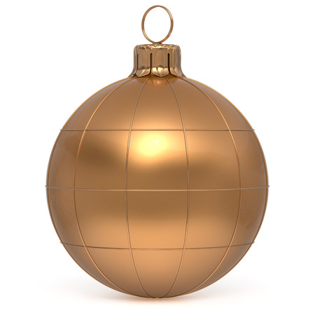 Christmas ball New Years Eve decoration world globe Earth planet bauble golden shiny international wintertime hanging adornment. Global universe ornament Merry Xmas happy winter holidays. 3d render