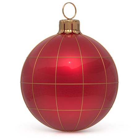 Christmas ball New Years Eve decoration world globe Earth planet bauble red shiny international wintertime hanging adornment. Global universe ornament Merry Xmas happy winter holidays. 3d render