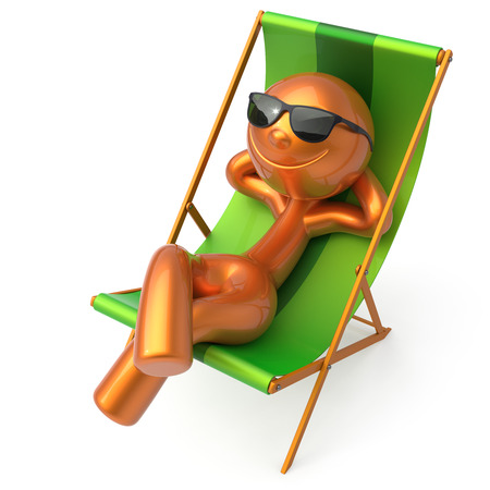 chaise longue: Man relaxing beach deck chair sunglasses summer cartoon smiling character chilling stylized person sun lounger tourist have fun sunbathe rest outdoor vacation lifestyle travel destination. 3d render