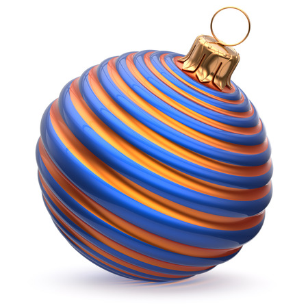 waved: Christmas ball New Years Eve decoration blue orange shiny striped bauble wintertime hanging adornment waved souvenir. Traditional ornament happy winter holidays Merry Xmas symbol closeup. 3d render Stock Photo