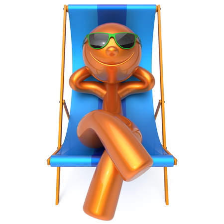 Summer vacation man smiley resting beach deck chair sunglasses relaxing cartoon character chilling stylized person sun lounger tourist have fun sunbathe outdoor lifestyle travel destination. 3d render Stock Photo