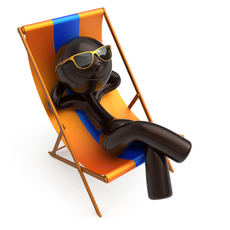 Man relaxing beach deck chair sunglasses smiling summer cartoon character chilling stylized person sun lounger tourist have fun sunbathe rest outdoor vacation lifestyle travel destination. 3d render