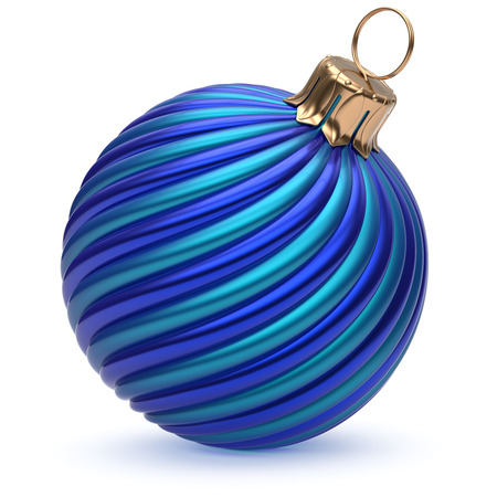 adornment: Christmas ball New Years Eve decoration blue shiny twisted stripes bauble wintertime hanging adornment souvenir. Traditional ornament happy winter holidays Merry Xmas symbol closeup. 3d render