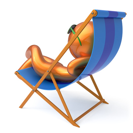 Man sitting beach deck chair relaxing summer cartoon character chilling stylized sunglasses person sun lounger tourist have fun sunbathe rest outdoor vacation lifestyle travel destination. 3d render Stock Photo
