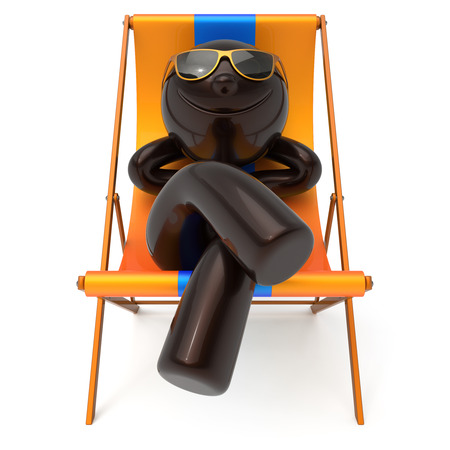 Man smiley resting beach deck chair sunglass relax summer cartoon character chilling stylized person sun lounger tourist have fun sunbathe rest outdoor vacation lifestyle travel destination. 3d render