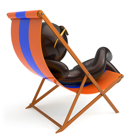 Man sitting beach deck chair chilling stylized sunglasses person relaxing summer cartoon character sun lounger tourist have fun sunbathe rest outdoor vacation lifestyle travel destination. 3d render Stock Photo