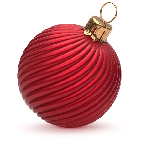 adornment: Christmas ball New Years Eve decoration red shiny twisted stripes bauble wintertime hanging adornment souvenir scarlet. Traditional ornament happy winter holidays Merry Xmas symbol closeup. 3d render Stock Photo