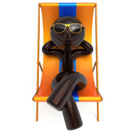 Smiling man resting beach deck chair sunglasses summer cartoon character chilling stylized person sun lounger tourist have fun sunbathe relax lifestyle outdoor vacation travel destination. 3d render