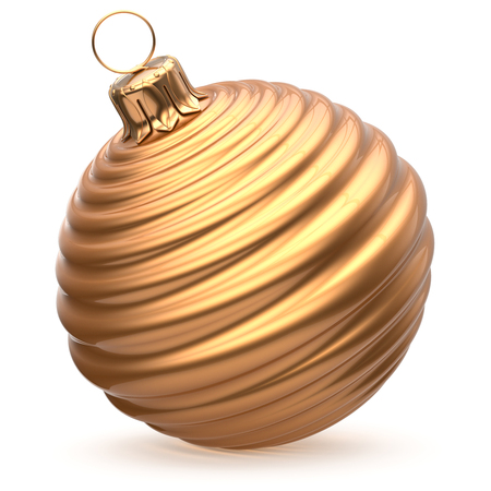 waved: Christmas ball New Years Eve decoration gold shiny striped bauble wintertime hanging adornment souvenir golden waved. Traditional ornament happy winter holidays Merry Xmas symbol closeup. 3d render