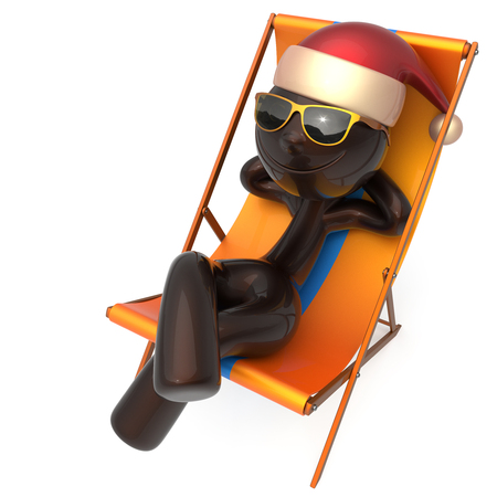 Merry Christmas smiley character happy Xmas vacation New Years Eve man sunglasses Santa Claus hat person chilling beach deck chair enjoy travel sun lounger chaise sunbathe relaxing rest. 3d render Stock Photo