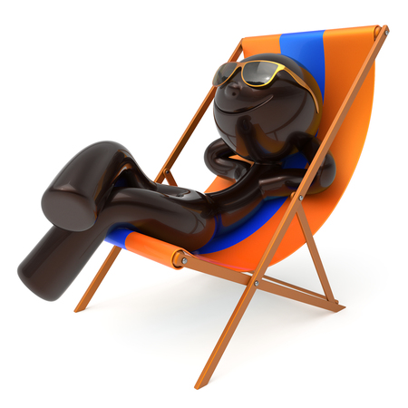 Man chilling beach deck chair summer smiling cartoon character stylized relaxing sunglasses person sun lounger tourist have fun sunbathe rest outdoor vacation lifestyle travel destination. 3d render