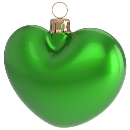 Christmas ball heart shaped New Years Eve bauble green adornment decoration blank. Happy Merry Xmas traditional wintertime holidays ornament love greeting card festive design element. 3d illustration Stock Photo