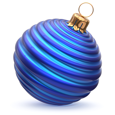 adornment: Christmas ball blue cyan New Years Eve decoration striped bauble wintertime hanging adornment waved souvenir. Traditional ornament happy winter holidays Merry Xmas symbol closeup. 3d illustration