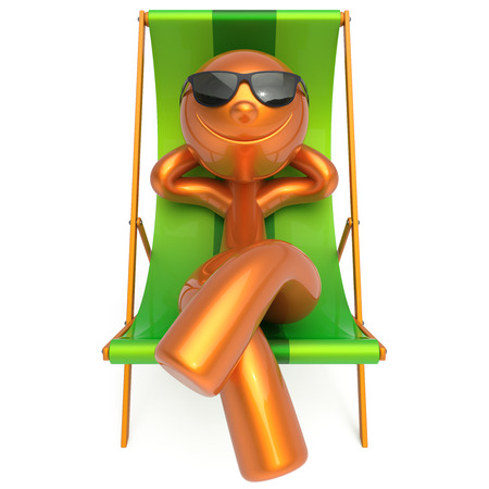 deck chair: Man beach deck chair sunglasses smiling relaxing summer cartoon character chilling stylized person sun lounger tourist sunbathing rest outdoor vacation lifestyle travel destination. 3d illustration