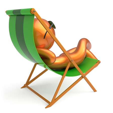 travel destination: Man resting beach deck chair sunglasses smiling summer cartoon character chilling stylized person sun lounger tourist sunbathe outdoor vacation lifestyle travel destination relaxing. 3d illustration Stock Photo