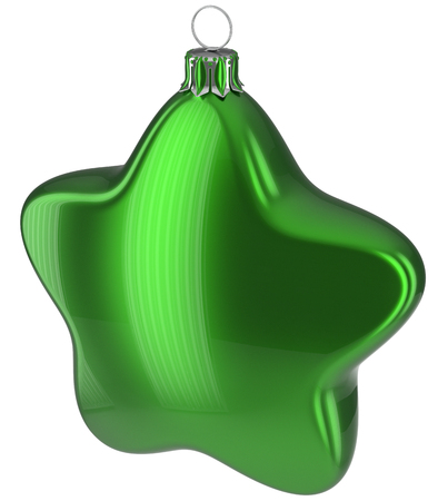 xmas star: Christmas ball star shaped green hanging decoration adornment New Years Eve bauble. Happy Merry Xmas greeting card design element traditional wintertime holidays decor ornament blank. 3d illustration