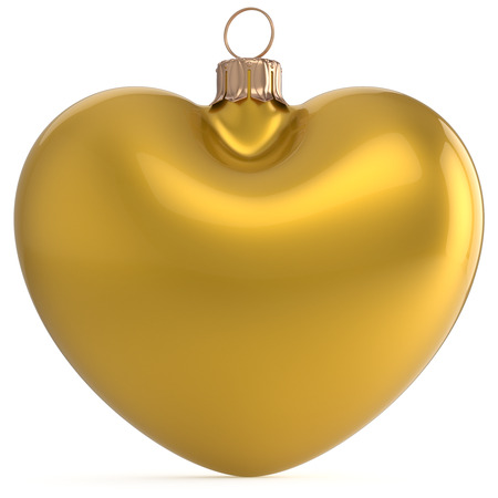 Christmas ball New Years Eve bauble yellow heart shaped adornment decoration. Happy Merry Xmas traditional wintertime holiday ornament romantic greeting card festive design element. 3d illustration