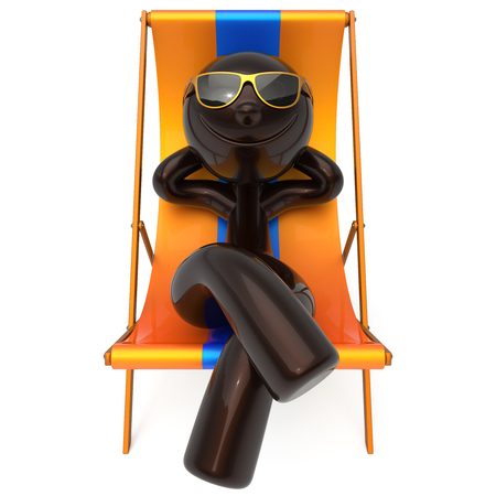 travel destination: Man smiley rest beach deck chair vacation relaxing summer sunglasses cartoon character chilling stylized person sun lounger tourist sunbathe rest outdoor lifestyle travel destination. 3d illustration Stock Photo