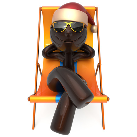 Xmas vacation man smiley character chilling beach deck chair Happy New Years Eve Merry Christmas sunglasses Santa Claus hat person enjoy travel sun lounger chaise sunbathe relax rest. 3d illustration