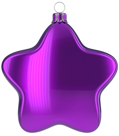 Christmas star hanging decoration purple New Years Eve bauble ornate Merry Xmas ball. Happy wintertime adornment greeting card design element traditional festive decor ornament blank. 3d illustration Stock Photo