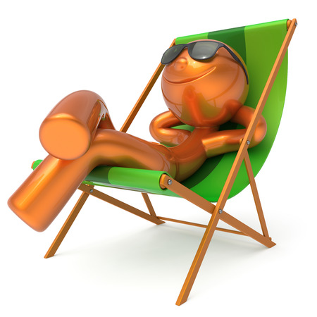Man rest beach deck chair sunglasses smiley summer cartoon character chilling stylized person sun lounger tourist have fun sunbathe outdoor vacation lifestyle travel destination relax. 3d illustration