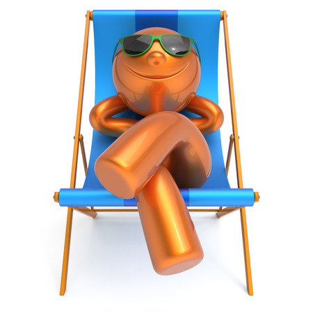sunbath: Beach deck chair man smiley resting summer vacation daydreaming relaxing cartoon character chilling stylized sunglasses person sun lounger tourist sunbathe outdoor travel destination. 3d illustration