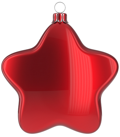 Christmas star hanging decoration red New Years Eve bauble ornate Merry Xmas ball. Happy wintertime adornment greeting card design element traditional festive decor ornament blank. 3d illustration