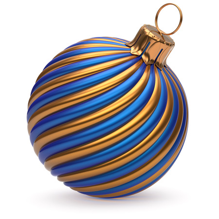 wintertime: Christmas ball New Years Eve decoration blue orange shiny twisted stripes bauble wintertime hanging adornment souvenir. Traditional ornament happy Merry Xmas winter holidays symbol. 3d illustration