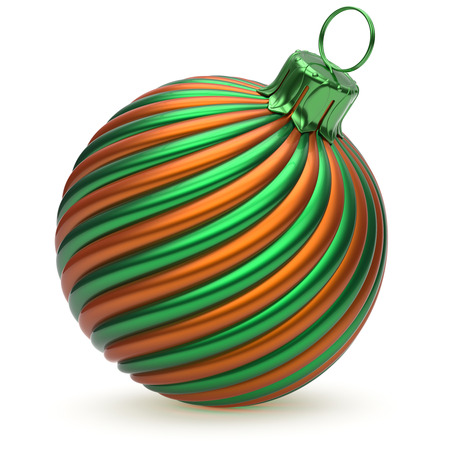adornment: Christmas ball New Years Eve decoration green orange twisted stripes bauble wintertime hanging adornment shiny souvenir. Traditional ornament happy Merry Xmas winter holidays symbol. 3d illustration