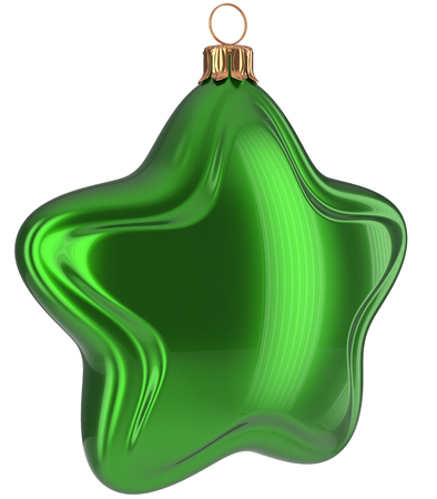Christmas star shaped Merry Xmas ball green hanging decoration adornment New Years Eve bauble. Happy wintertime holidays greeting card design element traditional decor ornament blank. 3d illustration