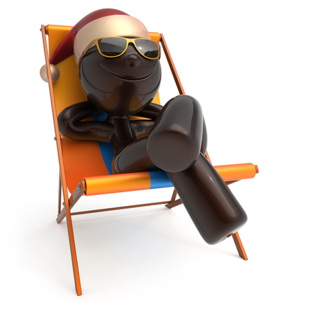 merrychristmas: Merry Christmas smiley character happy Xmas vacation New Years Eve man sunglasses Santa Claus hat person chilling beach deck chair enjoy travel sun lounger chaise sunbathe relax rest. 3d illustration