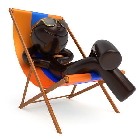 travel destination: Smiling man rest beach deck chair sunglass summer cartoon character chilling stylized person sun lounger tourist have fun sunbathe relax lifestyle outdoor vacation travel destination. 3d illustration Stock Photo