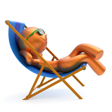 Smiling man relax beach deck chair summer sunglass cartoon character chilling stylized person sun lounger tourist have fun sunbathe rest outdoor vacation lifestyle travel destination. 3d illustration Stock Photo