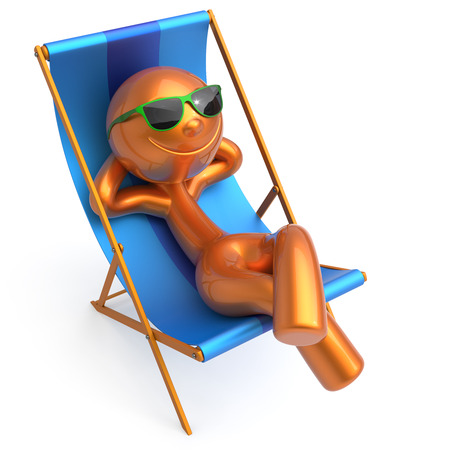 Relaxing beach deck chair man smile cartoon character chilling stylized summer sunglass person sun lounger tourist sunbathe rest outdoor vacation lifestyle travel daydream destination. 3d illustration