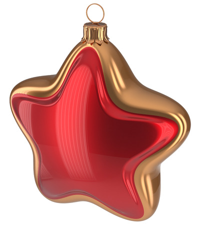 Christmas ball red golden star shaped hanging decoration adornment New Years Eve bauble. Happy Merry Xmas greeting card design element traditional wintertime holidays decor ornament. 3d illustration