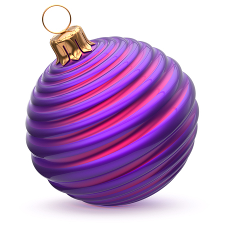 wintertime: Christmas ball New Years Eve decoration blue purple striped bauble wintertime hanging adornment waved souvenir. Traditional ornament happy winter holidays Merry Xmas symbol closeup. 3d illustration