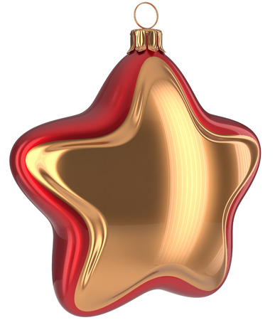 Christmas star shaped Merry Xmas ball golden red hanging decoration adornment New Years Eve bauble. Happy wintertime holidays greeting card design element traditional ornament blank. 3d illustration
