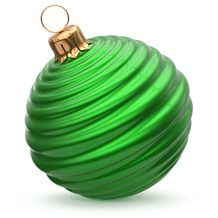 wintertime: Christmas ball New Years Eve decoration green stylish bauble wintertime hanging adornment waved shiny souvenir. Traditional ornament happy winter holidays Merry Xmas symbol closeup. 3d illustration