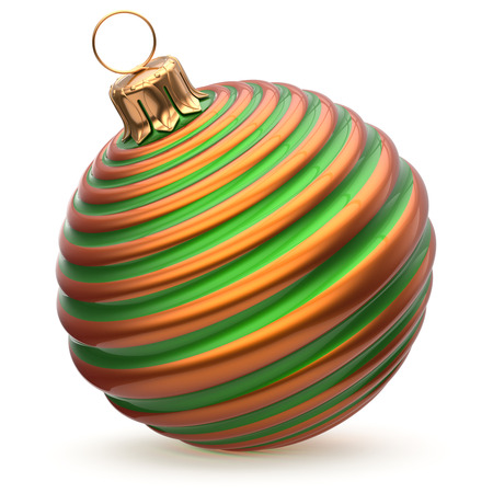Christmas ball striped green orange New Years Eve decoration bauble wintertime hanging adornment waved souvenir. Traditional ornament happy winter holidays Merry Xmas symbol closeup. 3d illustration Stock Photo