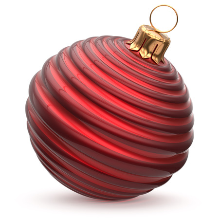 Christmas ball red New Years Eve decoration striped bauble wintertime hanging adornment waved stylish souvenir. Traditional ornament happy winter holidays Merry Xmas symbol closeup. 3d illustration